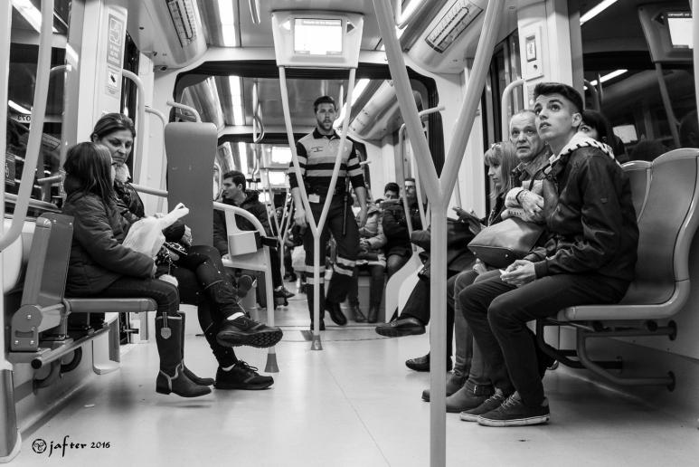 En el bagón del metro